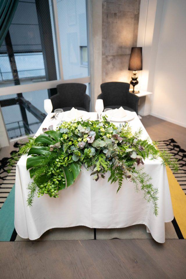 結婚式,装花,メインテーブル,披露宴,グリーン